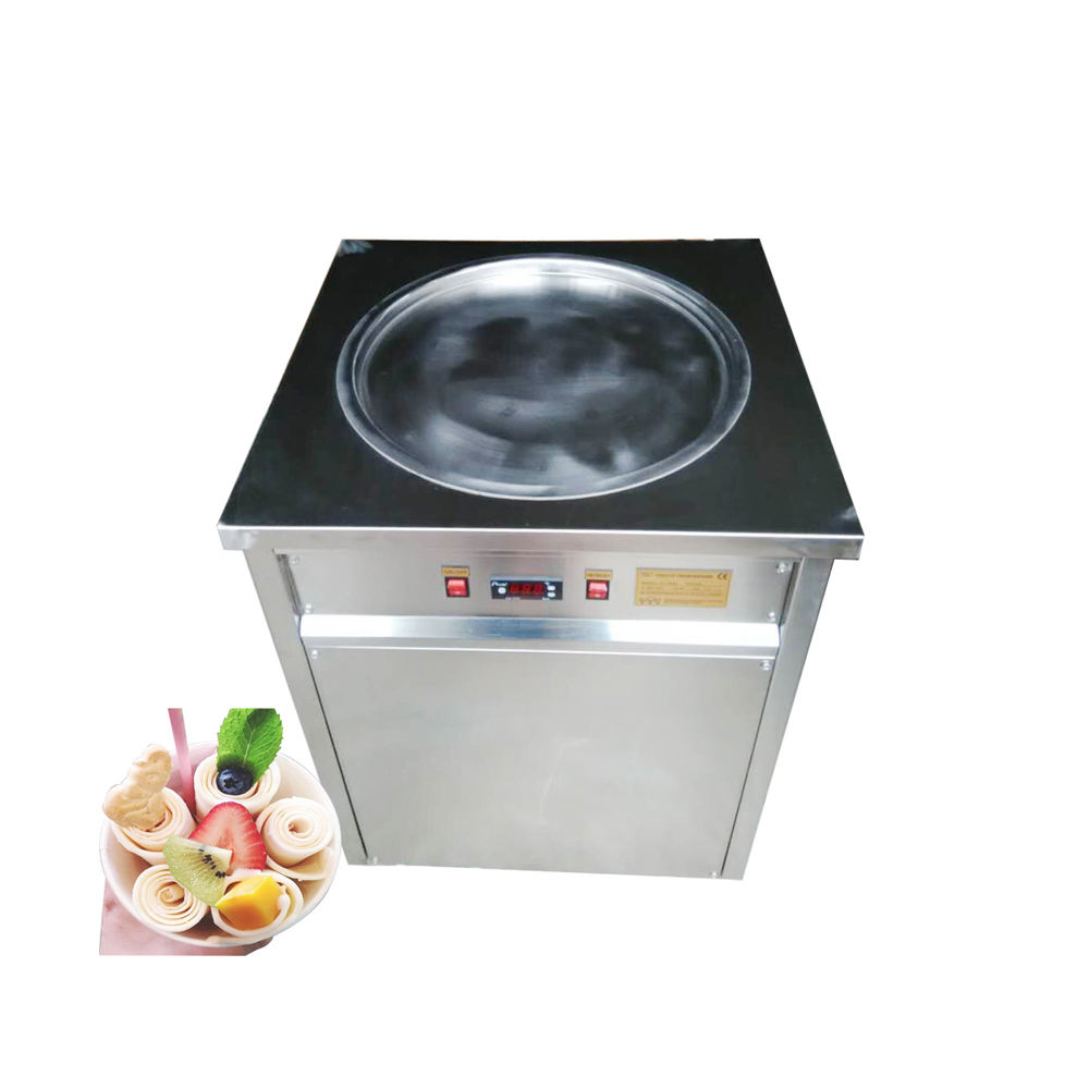 Cheapest Thailand Single Round Pan 7 Rolls Fried Ice Cream Machine Sale