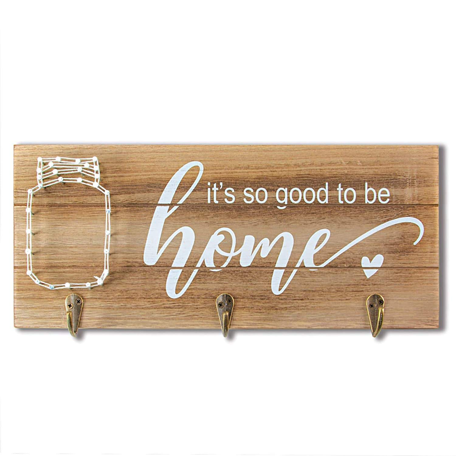 Farmhouse Key Holder with String Art Wall Decor Sign