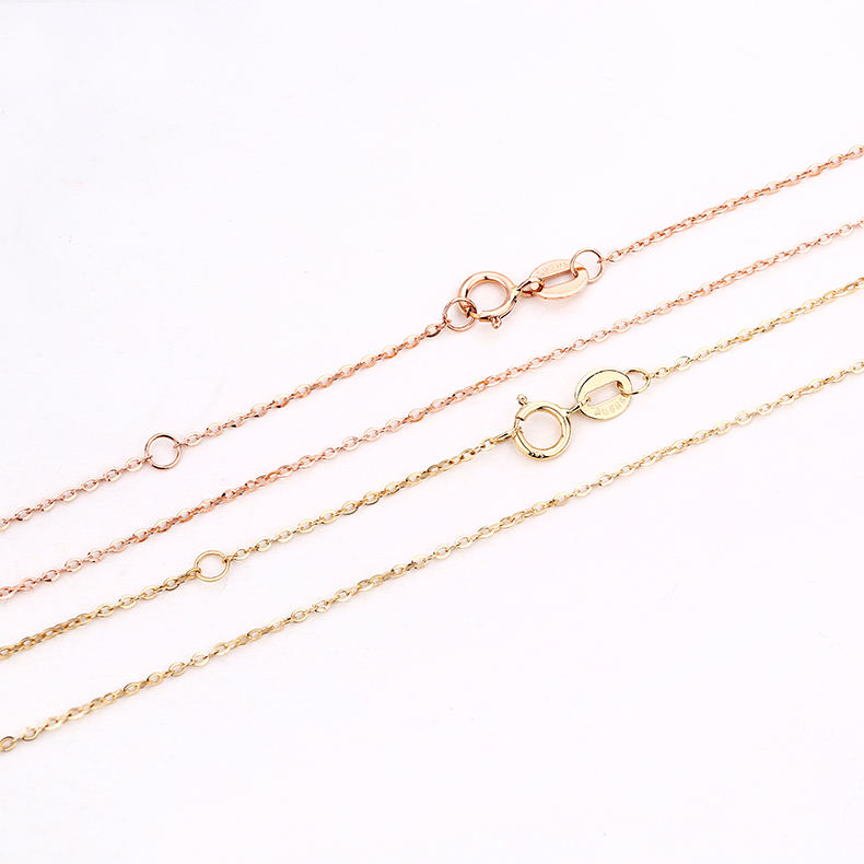 14k Yellow Gold Necklaces Adjustable 1mm 18inch Plain Cable Chain Necklace 450mm karat Rolo Chains