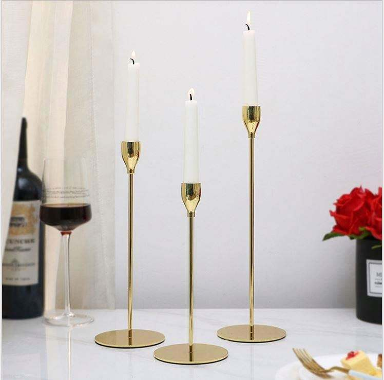 wholesale Wedding gold high candle holder three sets