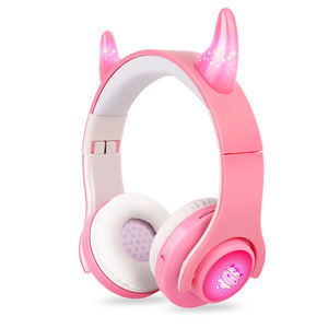 2020 Hot Set Wired Children Kids Headphone And Kids Bluetooth V5.0 Led Cow Ears