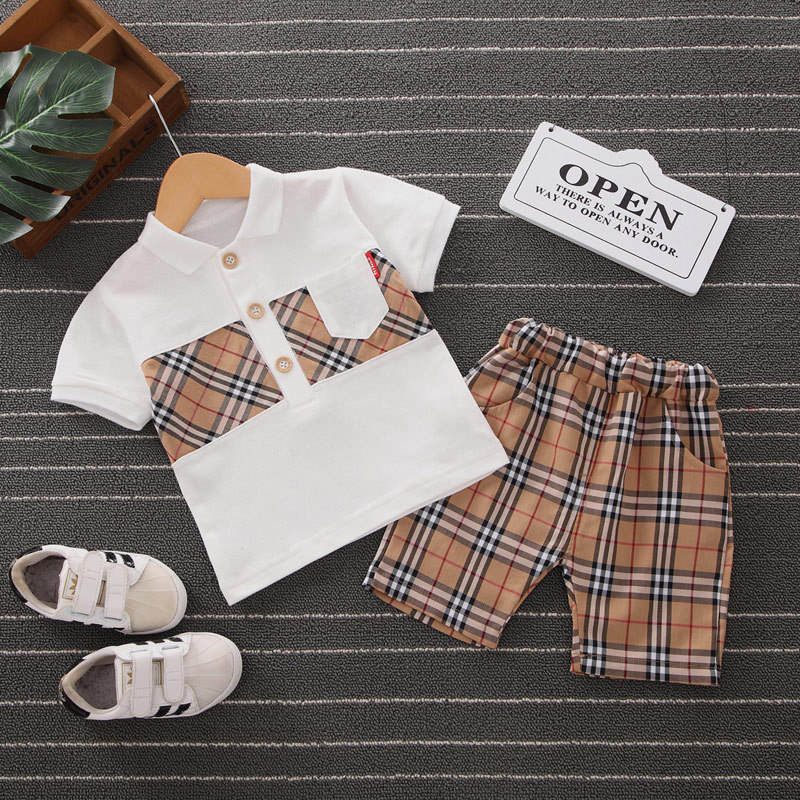 2021 New arrival summer casual Boys 2 Pieces Korean two-piece set of shorts for boys and girls