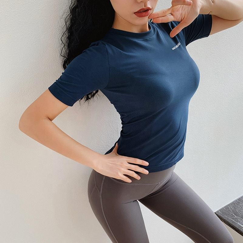 Custom Logo Seamless T Shirt Women Gym Workout Shirt Tshirt Sport Exercise Shirts for Women Cropped Athletic Tshirt Unbranded