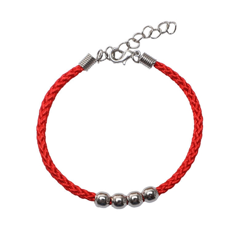 Nylon rope red Bracelet Black Bracelet belt extension chain and four iron beads bracelet quality gifts