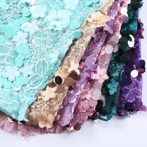 100% polyester mesh lace applique flower pearl embroidery beaded fabric for wedding dress