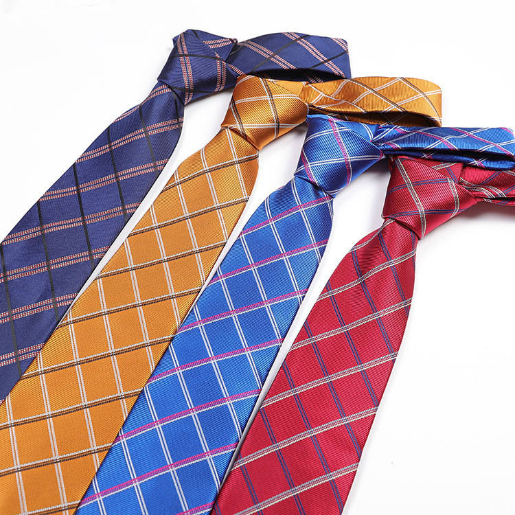 Manufacturers Wholesale Stock Men's Trendy Arrow Type Plaid Polyester Skinny Necktie Ties For Men