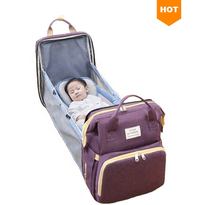 Multifunctional Travel Mummy Backpack Mom Changing Nappy Bag Foldable Baby Diaper Bags Backpack With Bed