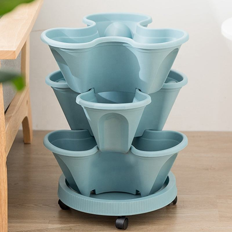 Self Watering Plastic Vertical Garden Pots Stacking Garden Pots with plant mover Stackable Strawberry, Herb, Flower