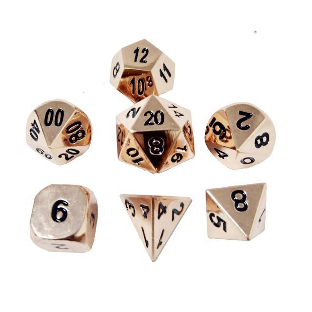 7 Die Metal Dice Set 7PCS dnd dice of D20 D12 D10 D% D8 D6 D4 for Dungeons and Dragons rpg Games-Glossy Enamel Dice