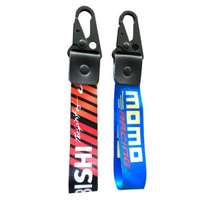 Custom High Quality Black Snap Carabiner Hook Wrist Strap Lanyards Keychain