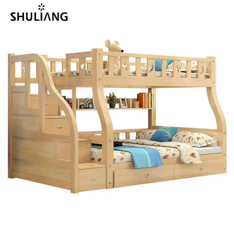 cheap natural adult kids children's bedroom dormitory queen size double deck solid wood bunk beds
