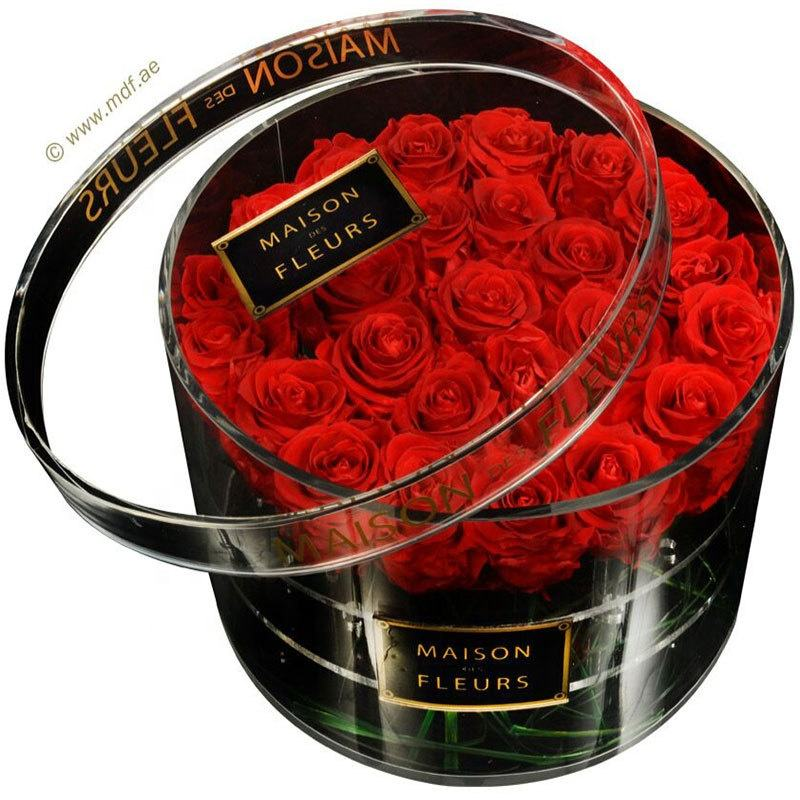 Caja de rosas acrílica Rosa caja de flores del Día de San Valentín caja redonda inmortal logotipo impreso