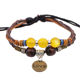 friendship style wax rope crystal bead charm woven braided leather bracelet with metal engraved love