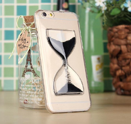 Dynamic Flowing Sand glass Hourglass Glitter Quicksand cover colorful clear transparent phone case for iphone 7 8 X 6 4.7Inch