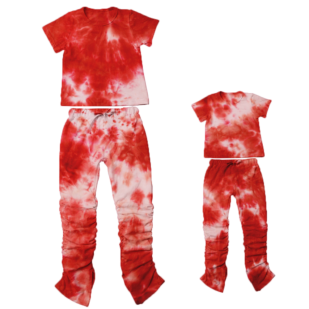 2020 Wholesale Tie Dyed Kids Fall Clothing Set 2pcs Mommy and me Outfits Causal Jogger Set Kids Stacked Pants Set