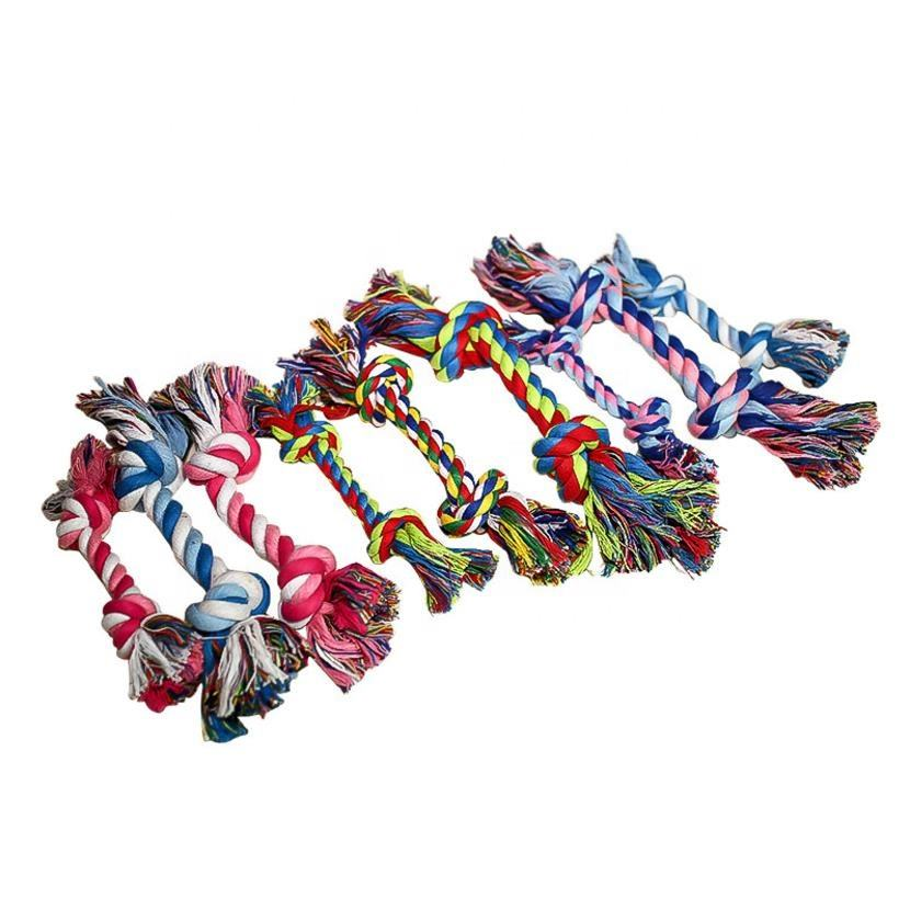 Eco Friendly Braided Knots Cotton, Double Bone Knot Dog Toy Rope Dental Clean Teeth Chew Pet Dog Toys