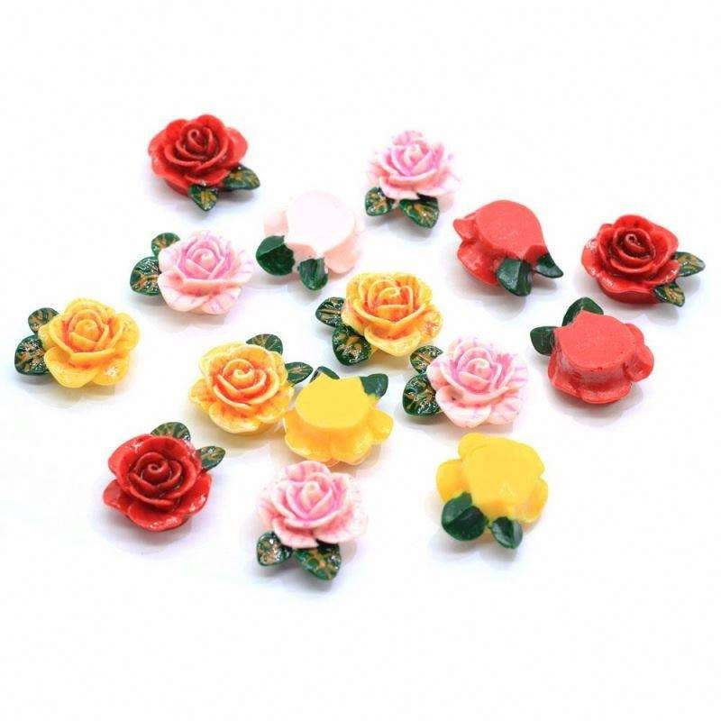 New Red Pink Yellow Rose Flower Kawaii Flat Back Resin Cabochon DIY Craft Wedding Decoration Embellishment