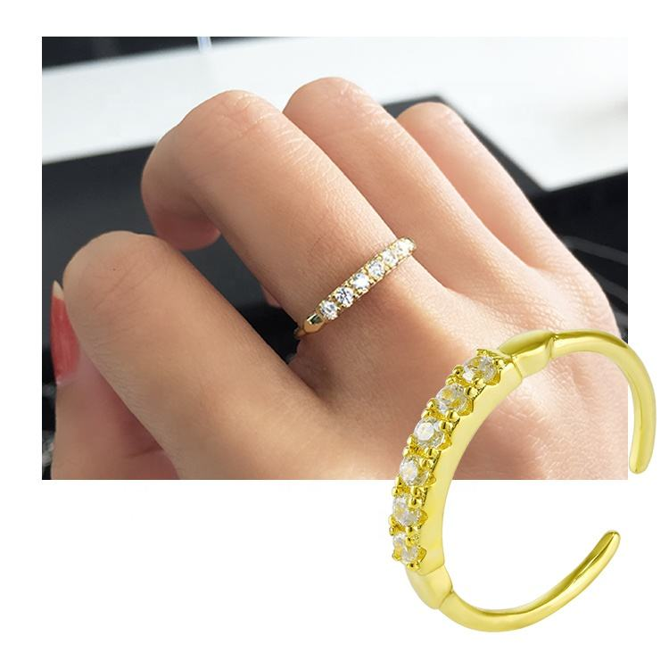 Tiny Sterling Silver Rings 925 Delicate Fashionable Jewelry Mini 14k 18k Gold Plated Girls Open Ring
