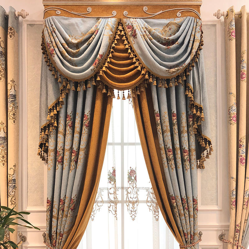 Royal Style Luxury Jacquard Gold Fancy Curtains With Valance and Swags For The Living Room