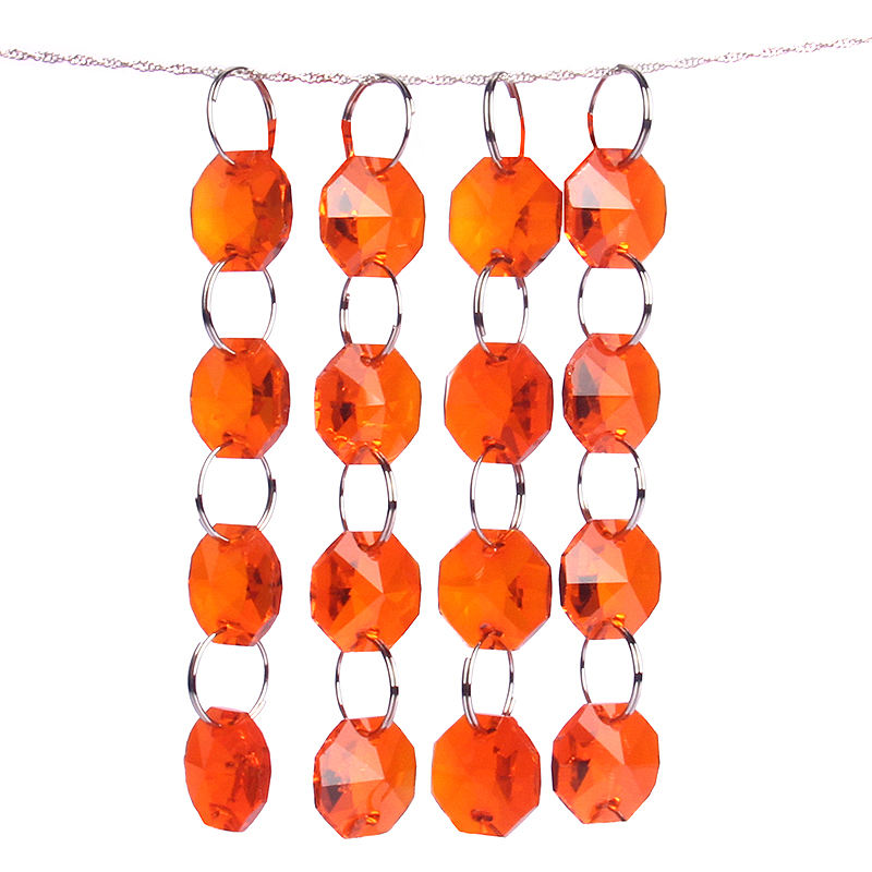 Orange Red 14mm In One Holes Chandelier Crystal Glass Octagon Beads For Wedding Door/Lamp/Garland Strand Decor