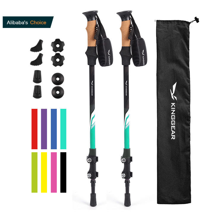 Custom 3-section telescopic folding Aviation Aluminum 7075 tracking walking hiking Sticks Trekking Poles