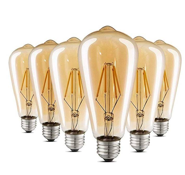 Edison LED Light Bulbs - Dimmable - Vintage Style Warm Filament 4W (40 Watt Equivalent) ST64 - Color 2300K - E26 base