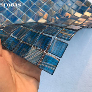 golden lines blue glass swimming mosaic tile for pool