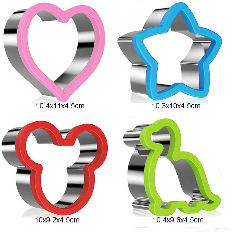 4 Pieces Stainless Steel Sandwich Cutter Set Mickey Mouse Dinosaur Heart And Star Shapes Cookie Cutter