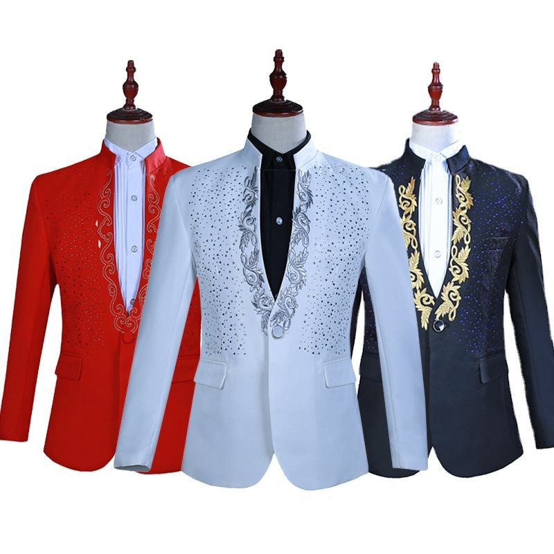 Men's hot flower rhinestone collar collar suit suit annual meeting host singer stage performance costume party dress suit