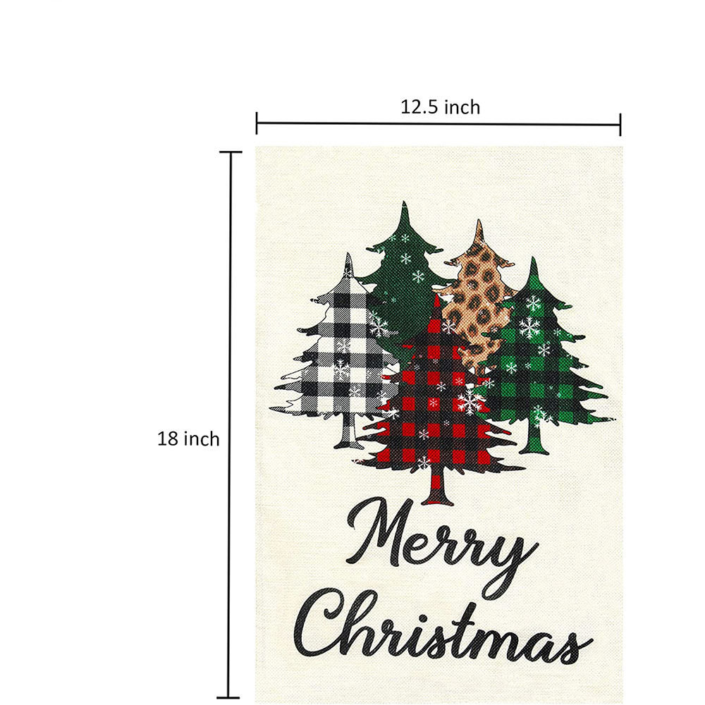 Merry Christmas Garden Flag 12.5 x 18 Inches Double Side Buffalo Check Plaid Tree Christmas Decorations Yard Flag for Winter