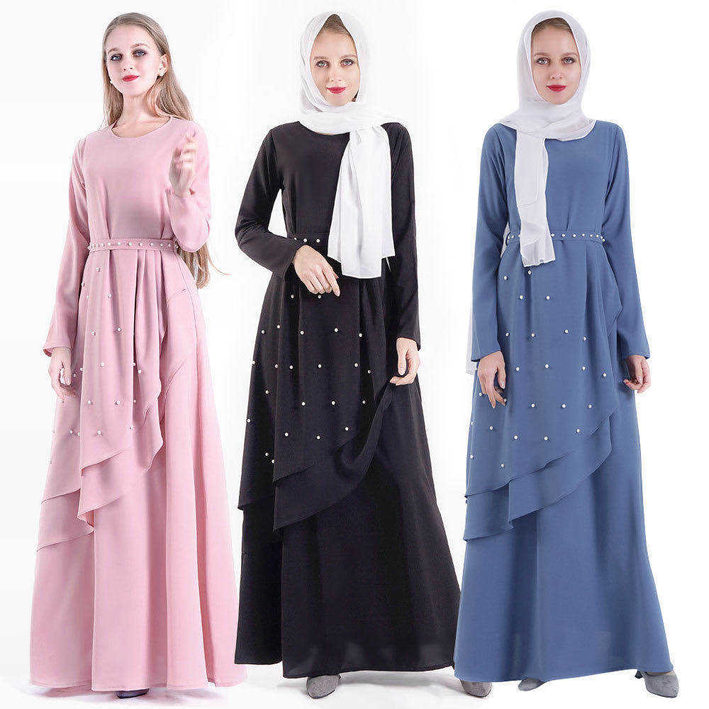 2020 Latest designs abaya islamic clothing hand beaded abaya muslim dresses kaftan