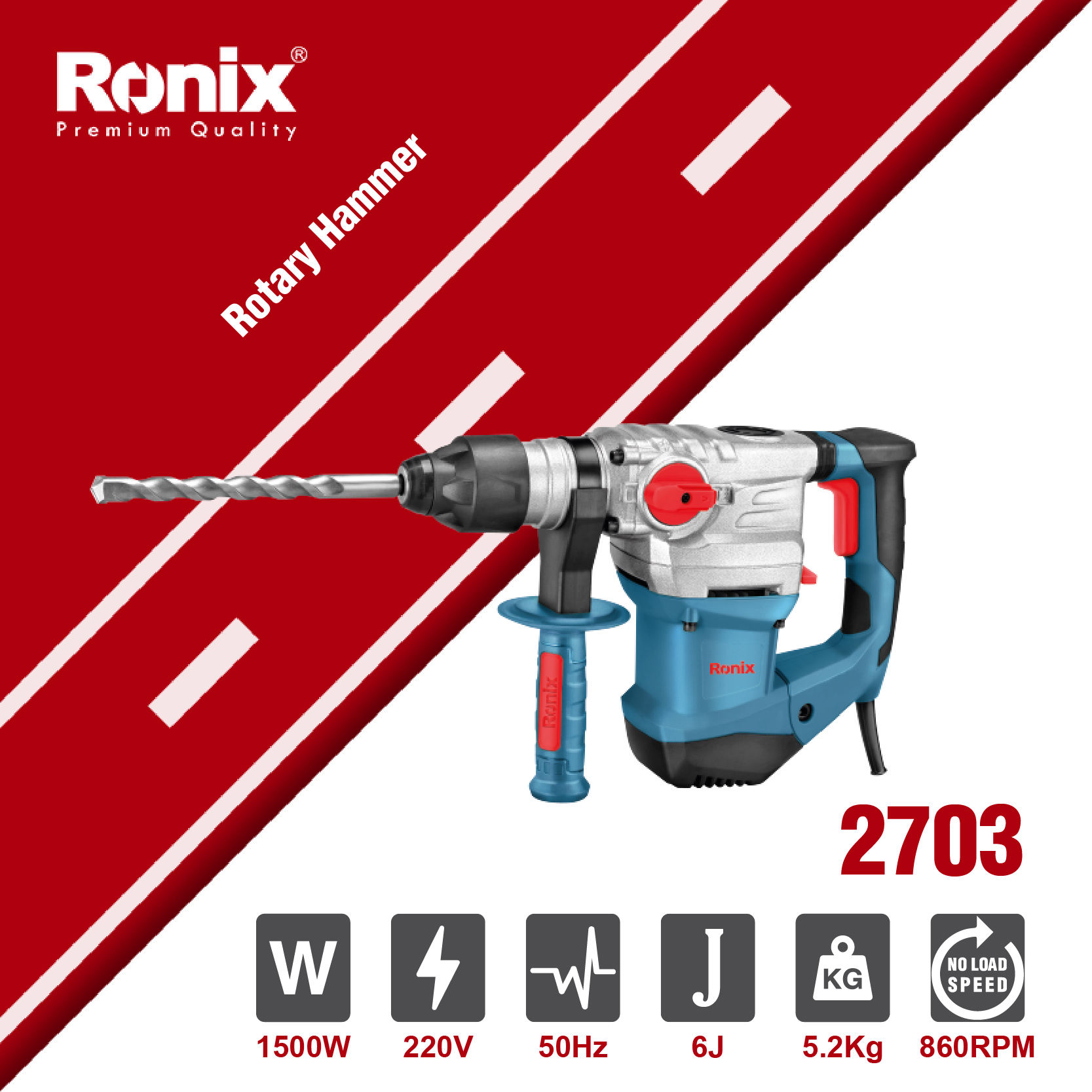 Ronix New Model 2703 1500W 32mm High Power Tools Rotary Hammer suzhou Hammer Drill