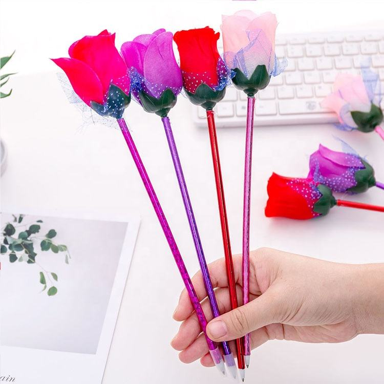 Creative cartoon valentine's day wedding rose ballpoint pen for gift