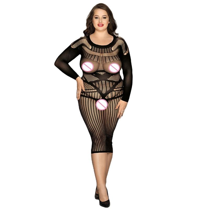 Plus size sexy bodysuit see through long sleeve mesh