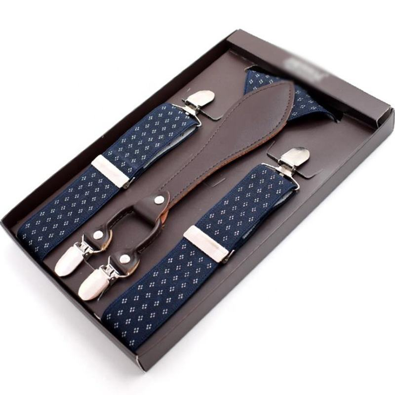 formal polka dot style navy blue 4 clips suspenders gift set with box for men