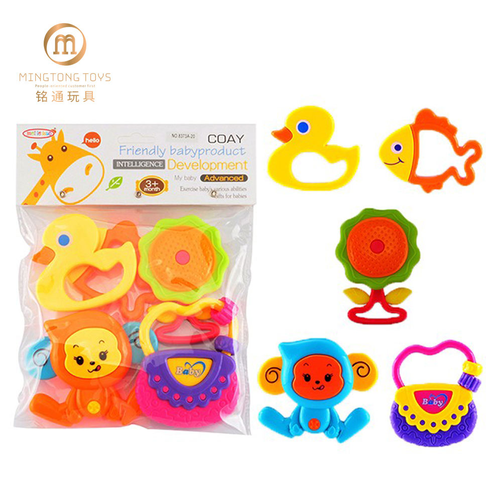 Lovely 5 pcs baby Educational Shaking Rattle Kids Funny Hand Animal Bell Toy