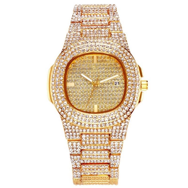YW32 Mens Watches Top Brand Luxury Iced Out Watch Gold Diamond Watch for Men Square Quartz Waterproof Wristwatch Relogio Masculi