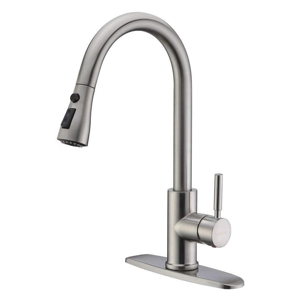 WEWE Single Handle High Arc Stainless Steel Brushed Nickel Pull out Kitchen Sink Faucet