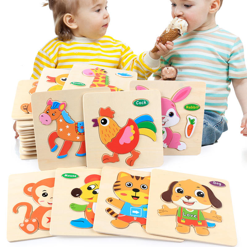 44 Designs Children 3D Cartoon Animal Traffic Early Learning Montessori Educational Wooden Puzzles Toys
