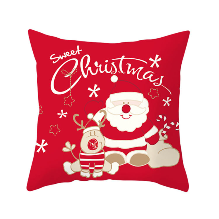 Kanlong Hot Sale Custom Design 100% Cotton Christmas Throw Pillow Case Scatter Hamptons Red Covers Christmas Cushions In Bulk