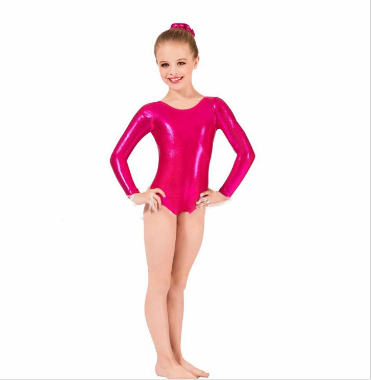 Ballet Leotards For Girls Shinny Metallic Gymnastics Long Sleeve Gold Leotard Spandex Costume Kids Dance Wear