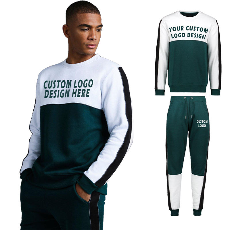 CustomデザインPlain Gym Tracksuit 100% Cotton Splice Color Mens Tracksuit