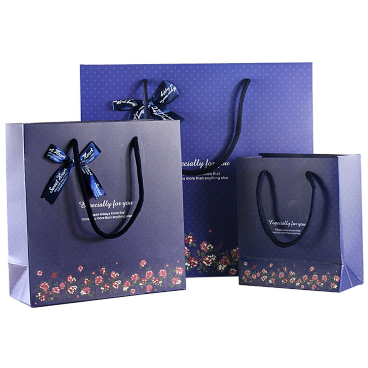 Custom exquisite gift bag dark blue bottom dot gift bag paper bag