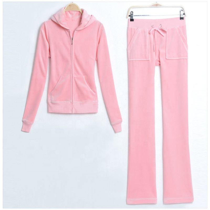 Full zip up plain velvet womens pink suede track suit women's gym tracksuit