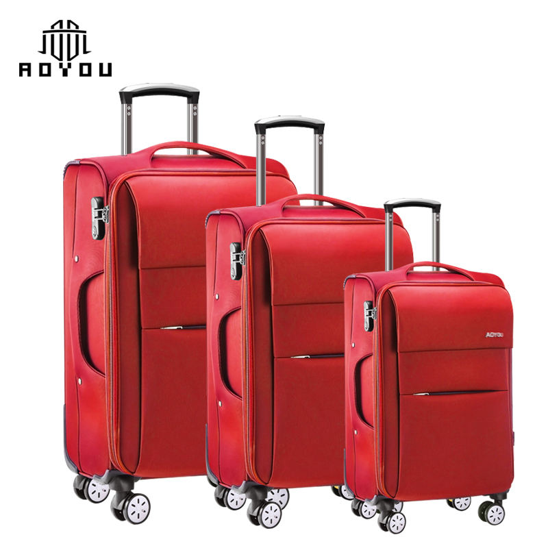 2019 hot selling 3pcs 20 24 28inch New suitcase set Trolley Soft shell Fabric lightweight luggage set