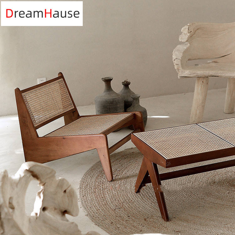 Dreamhause Indoor simple design pierre jeanneret le corbusier Chair Solid Wood Rattan Living Room Lounge Armchair And Bench