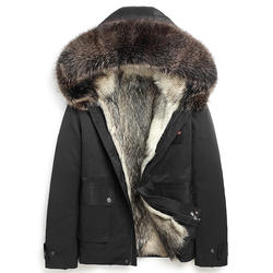 Men Fashion 2020SS Real Natural Raccoon Fur Lining Parkas Casual Jacket with Hood Coat