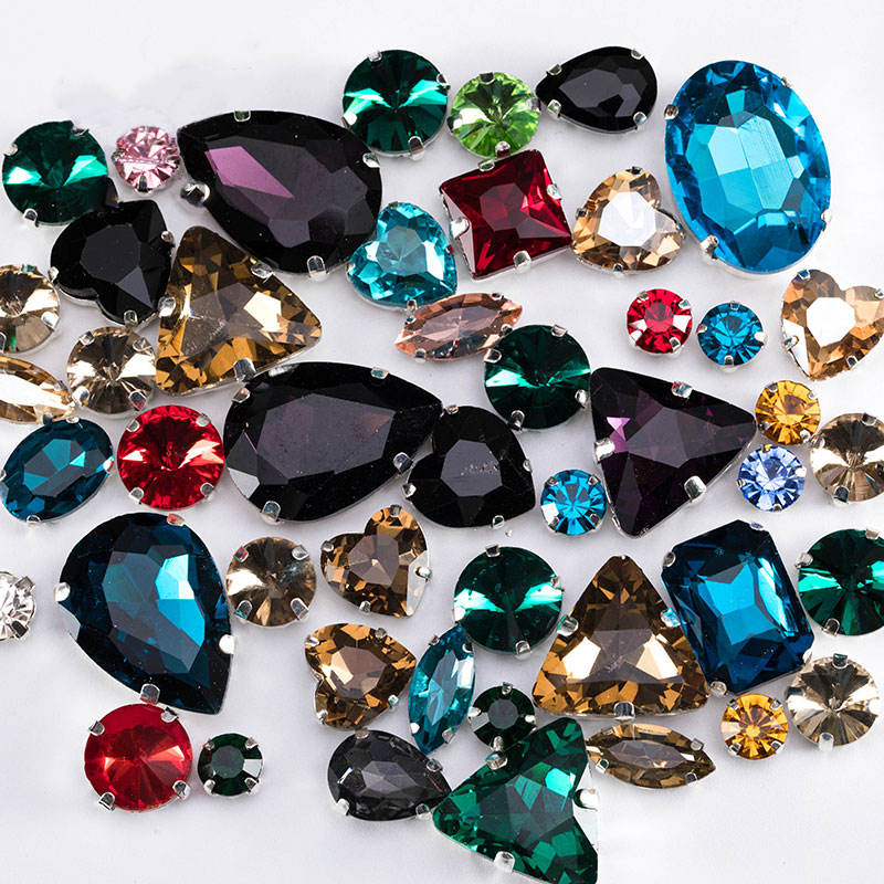 Crystal Sew On Rhinestone With Claw Diy Colorful Dress Stones Mix Shape Glass Rhinestones For Clothing