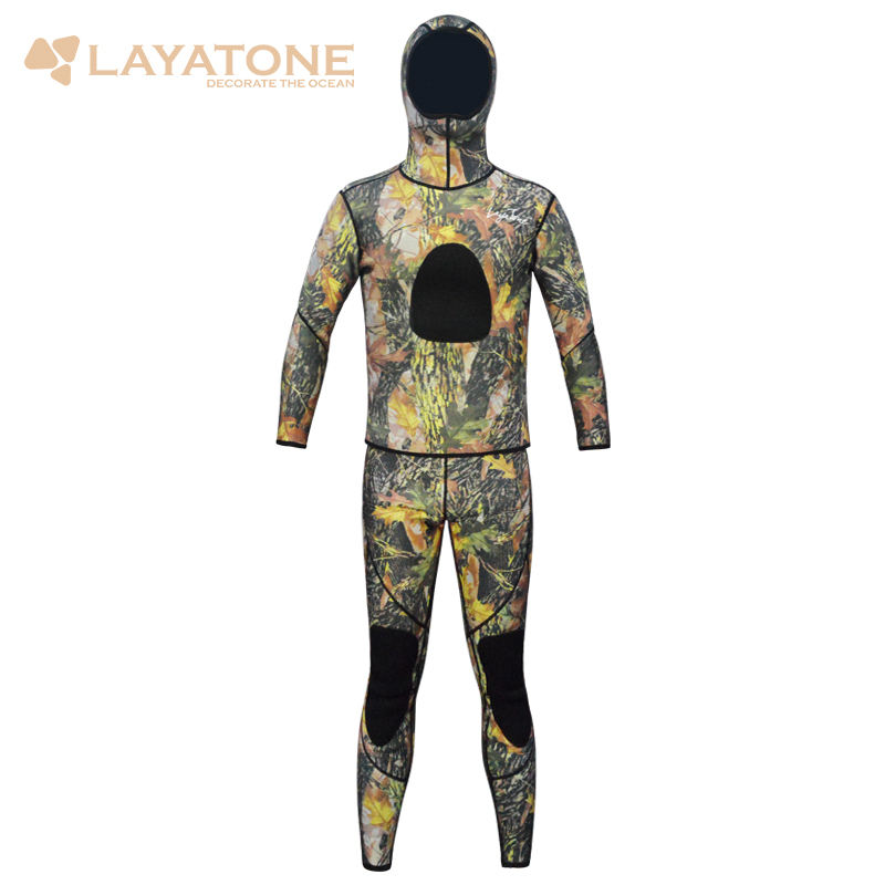 LayaTone Adults 3mm Camouflage Wetsuit Hood Neoprene 2 Pieces CR Spearfishing Free Diving Suit