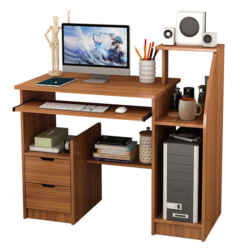 Contracted simple desktop student learning and write home single computer table computer desk with bookshelf